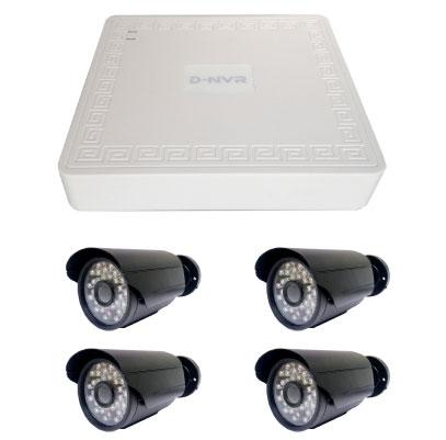 Kit 4 cámaras IP bullet Plug & Play 1,3 megapixel ONVIF POE